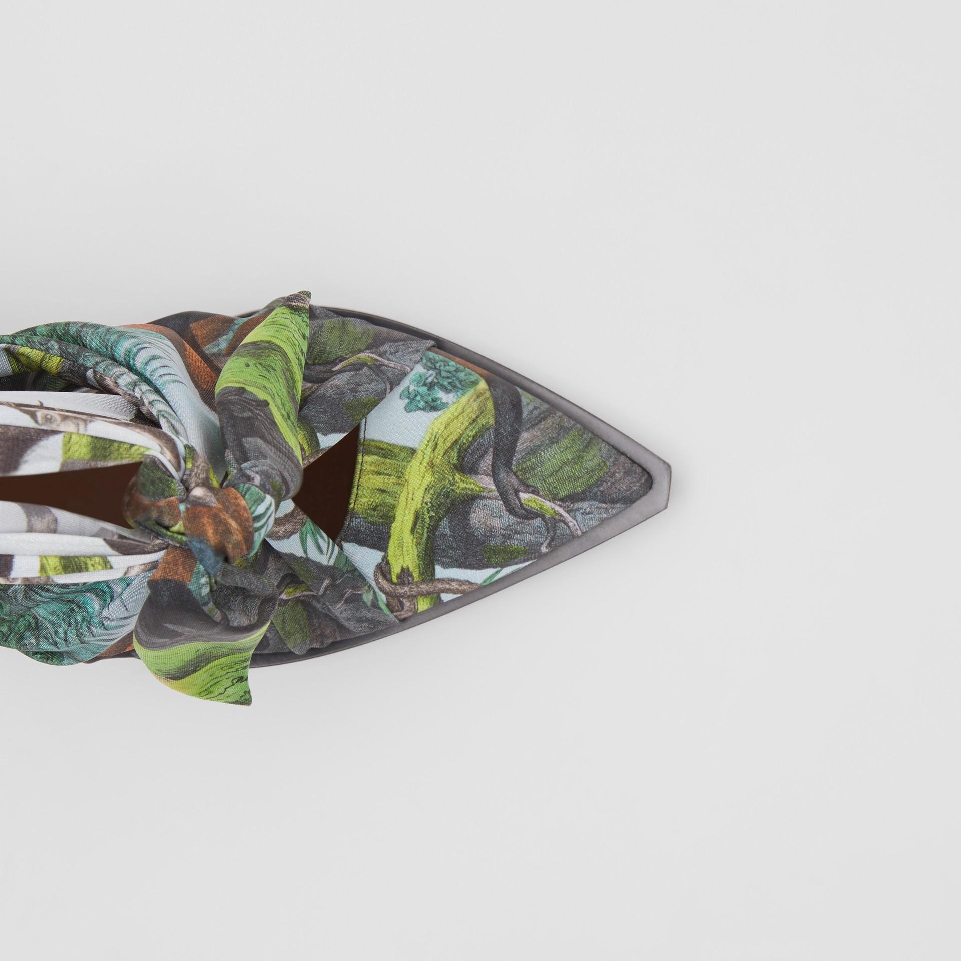 Scarf Tie Detail Monkey Print Point-toe Mules in Opal Green - Women | Burberry - gallery image 1