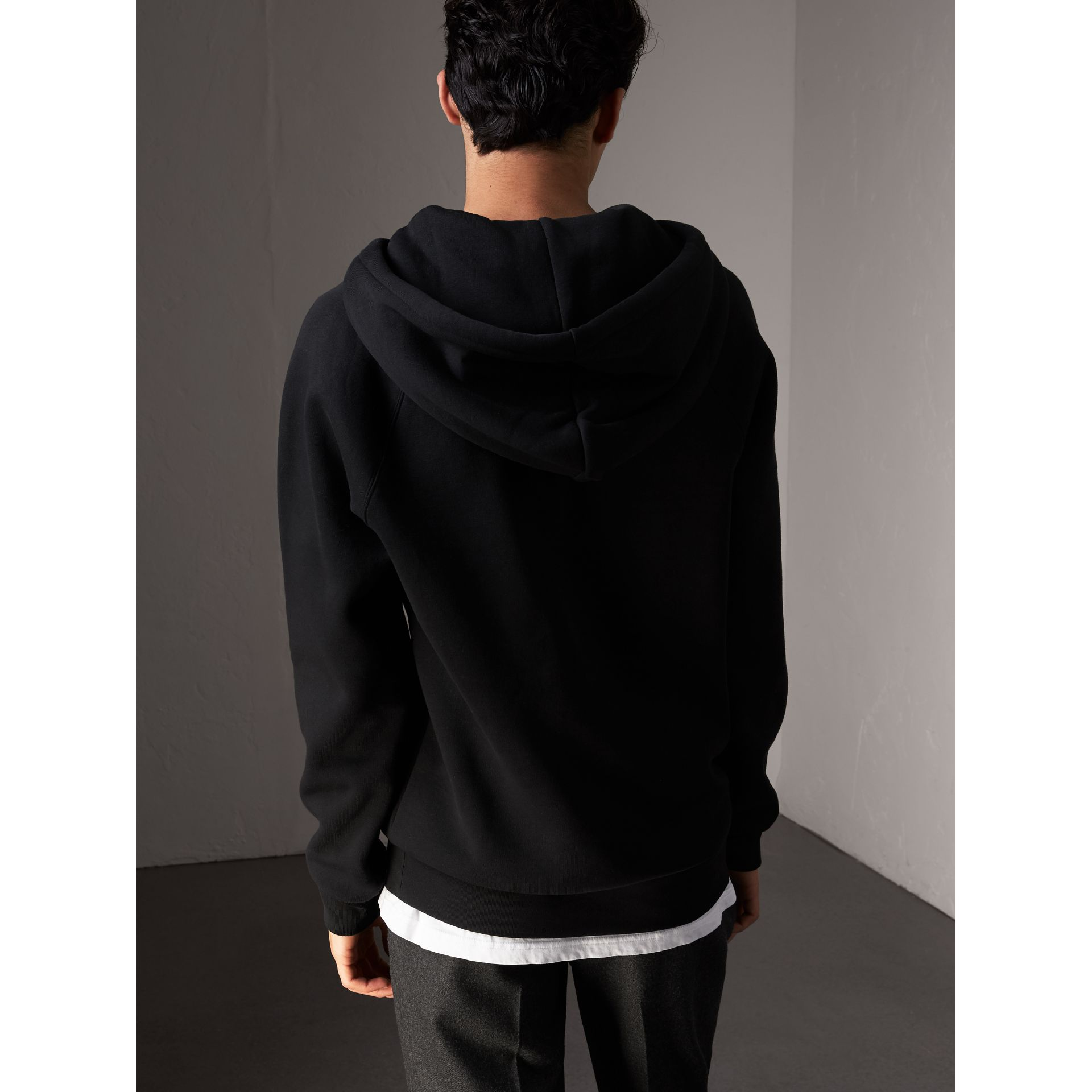 Embroidered Hooded Sweatshirt in Black - Men | Burberry United States - gallery image 2