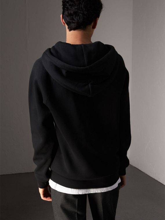 Embroidered Hooded Sweatshirt in Black - Men | Burberry Singapore - cell image 2
