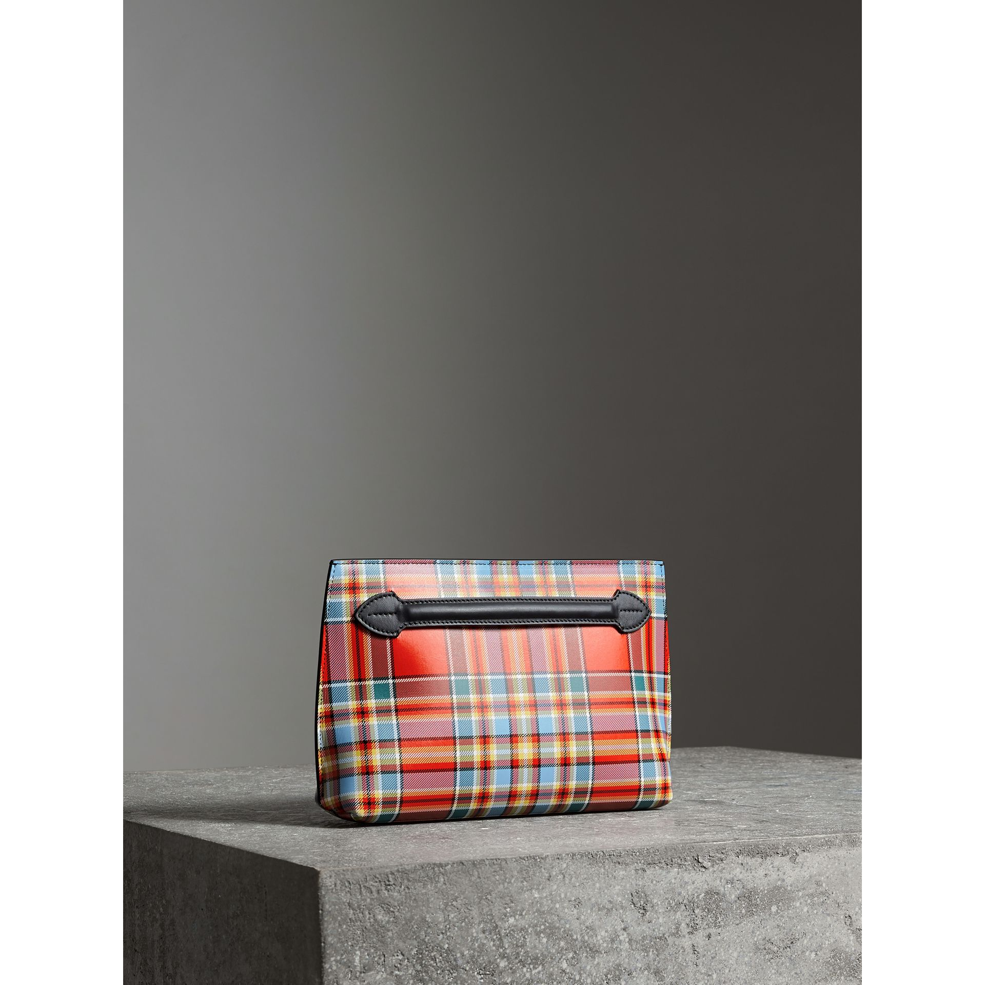 Grainy Leather Wristlet Clutch in Natural White/orange Red - Women | Burberry - gallery image 8
