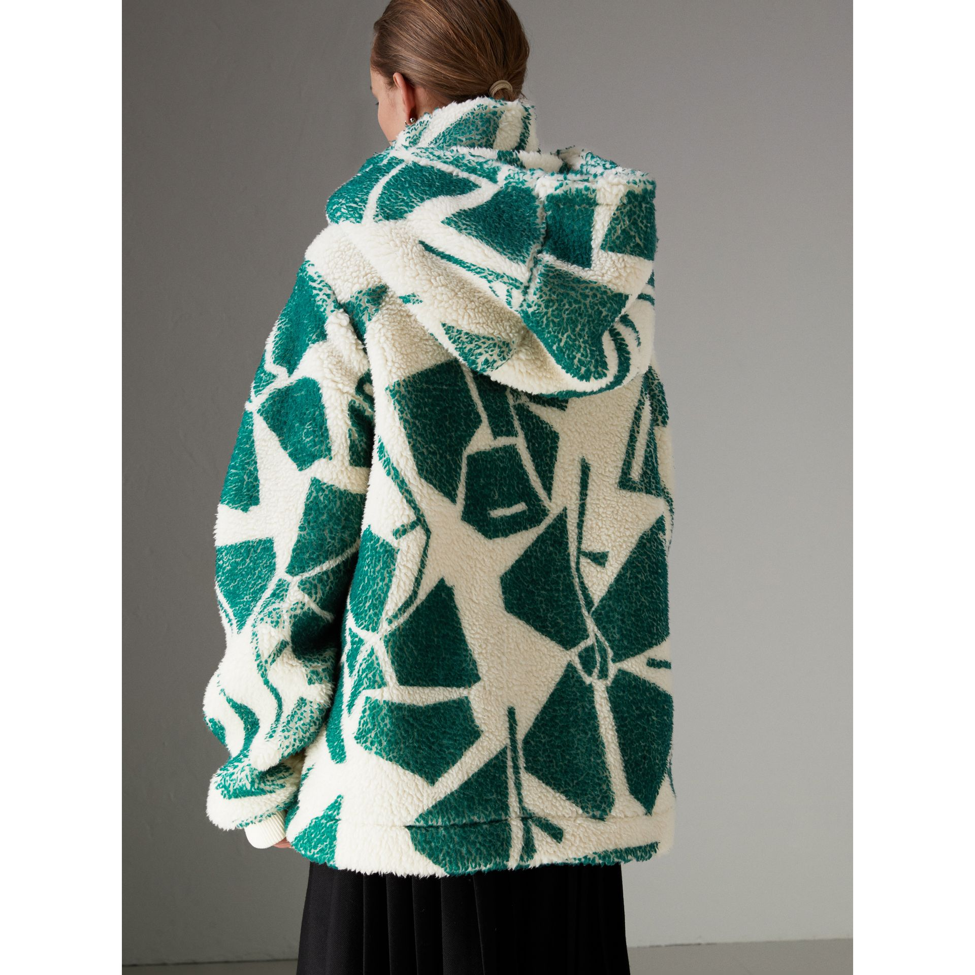 Floral Print Cashmere-silk Fleece Zipped Hoodie in Forest Green - Women | Burberry Hong Kong - gallery image 2
