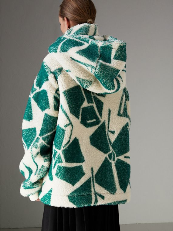 Floral Print Cashmere-silk Fleece Zipped Hoodie in Forest Green - Women | Burberry Hong Kong - cell image 2