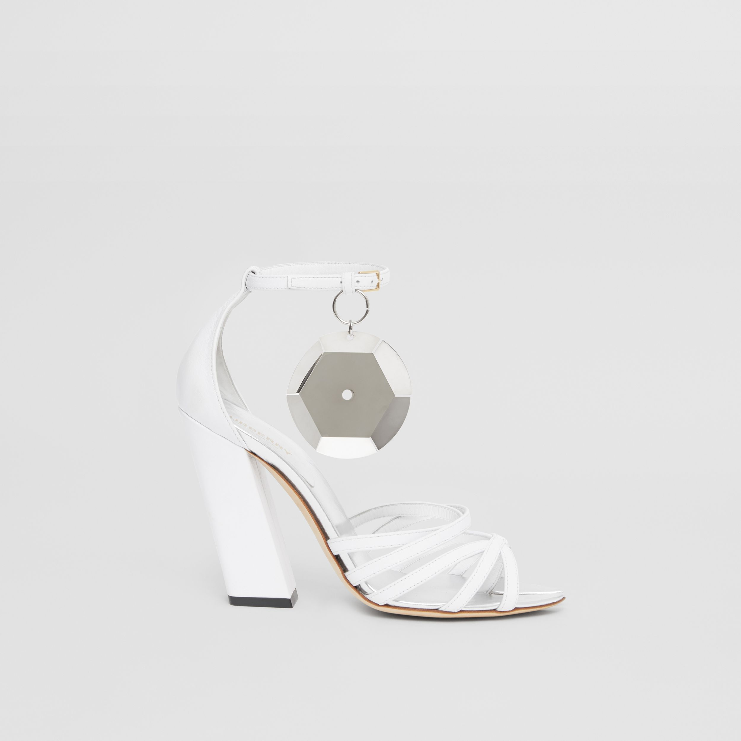 Split-toe Detail Leather Sandals in Optic White - Women | Burberry - 4