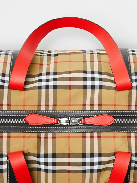 Large Vintage Check and Leather Barrel Bag in Antique Yellow - Men | Burberry Australia - cell image 1