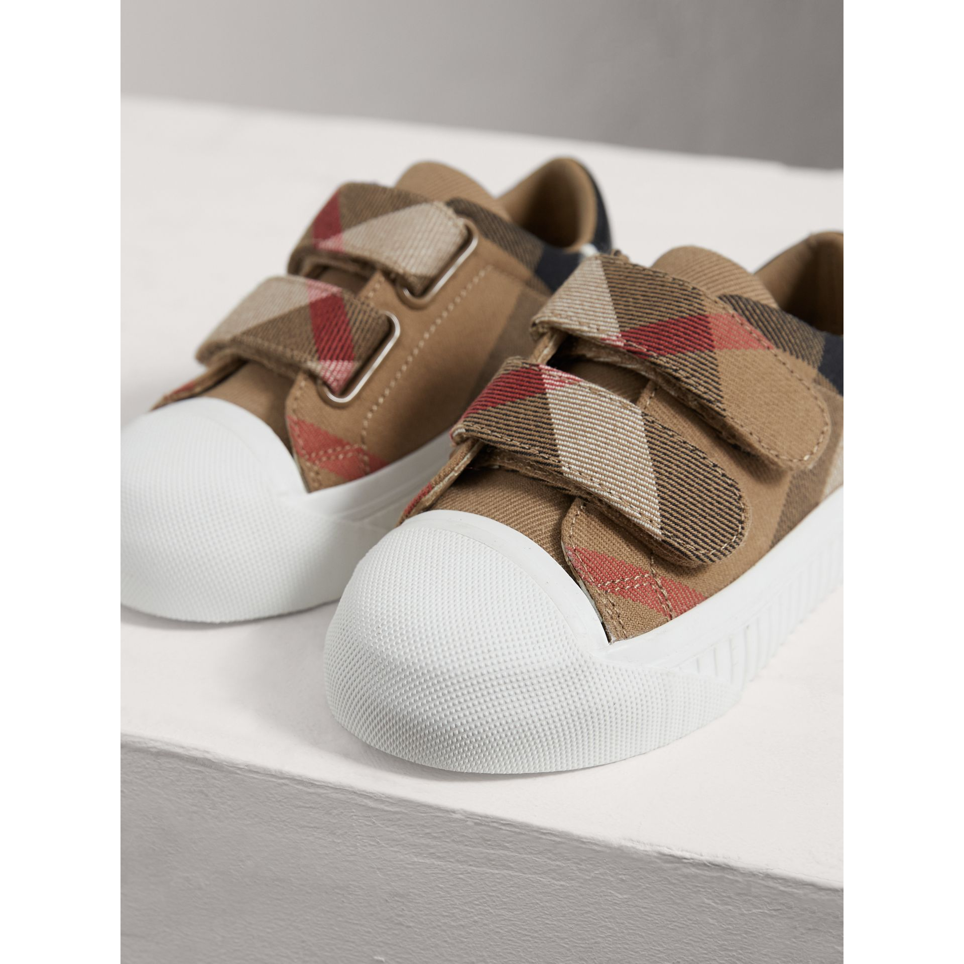 House Check and Leather Trainers in Classic/optic White | Burberry United Kingdom - gallery image 4