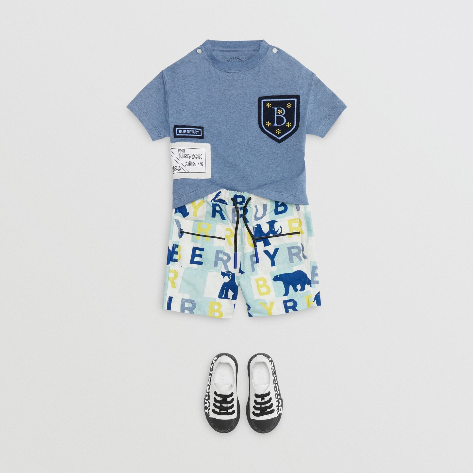 Logo Montage Cotton T-shirt in Dusty Blue - Children | Burberry - gallery image 2
