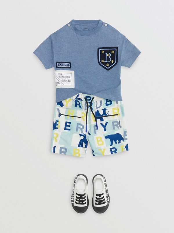 Logo Montage Cotton T-shirt in Dusty Blue - Children | Burberry - cell image 2