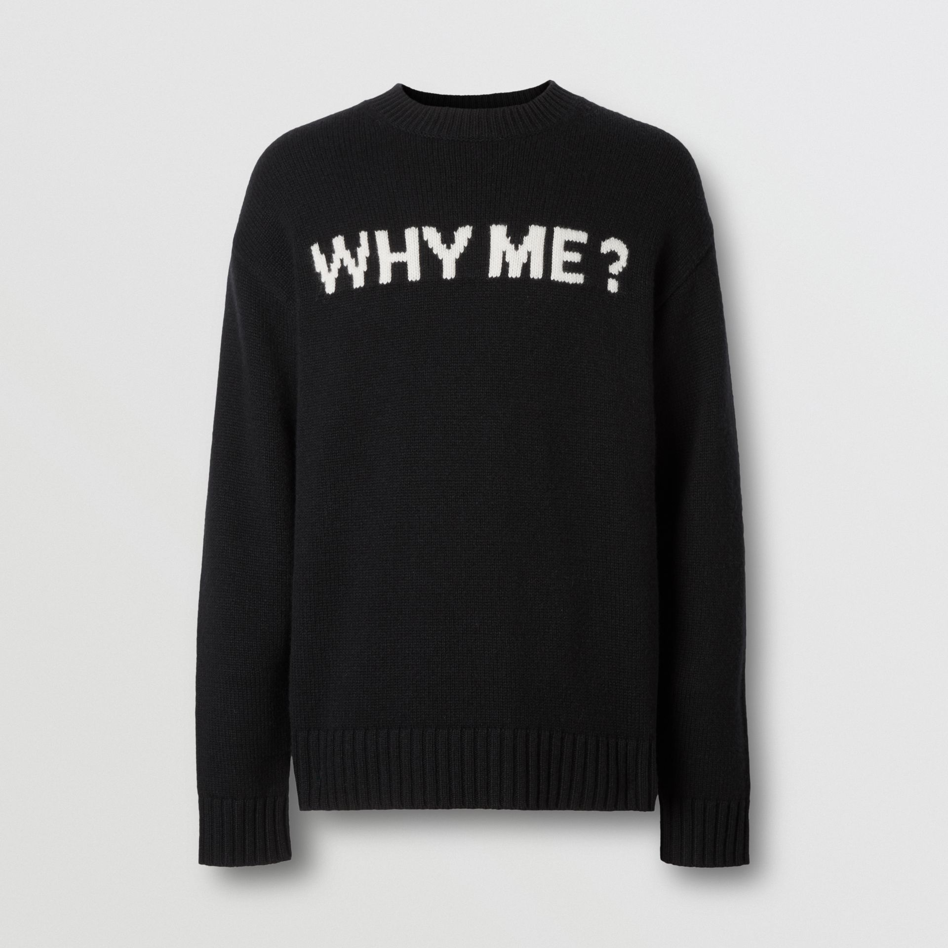 Slogan Intarsia Cashmere Sweater in Black - Men | Burberry - gallery image 3