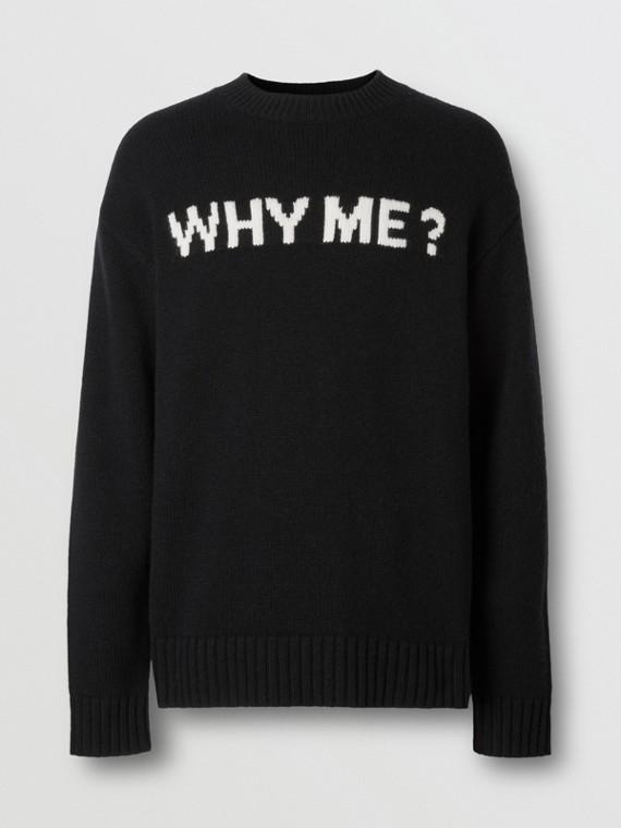 Slogan Intarsia Cashmere Sweater in Black