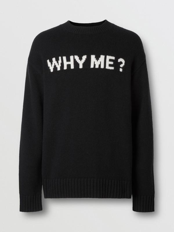 Slogan Intarsia Cashmere Sweater in Black - Men | Burberry - cell image 3