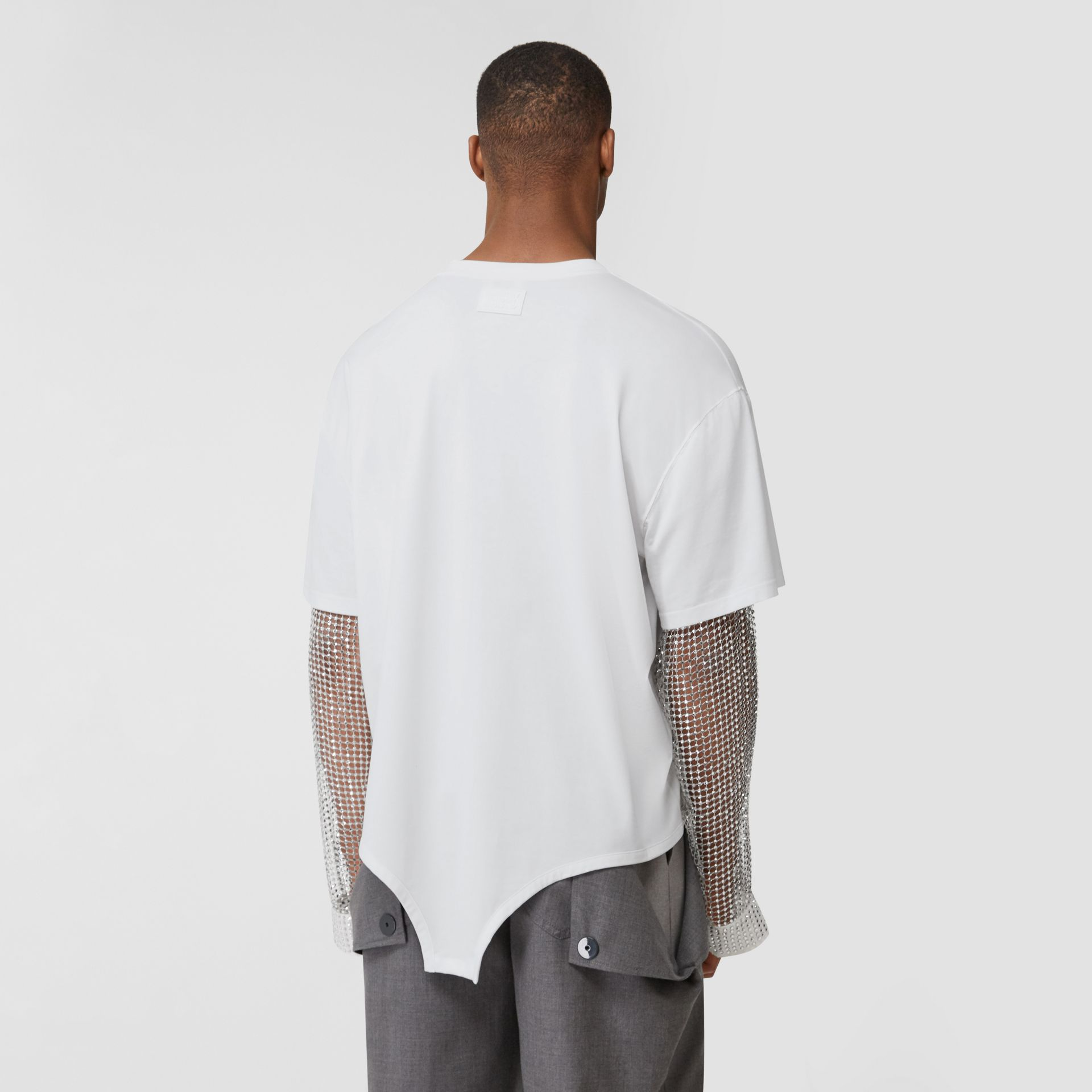 Crystal Sleeve Cut-out Hem Cotton Oversized T-shirt in Optic White | Burberry United Kingdom - gallery image 2