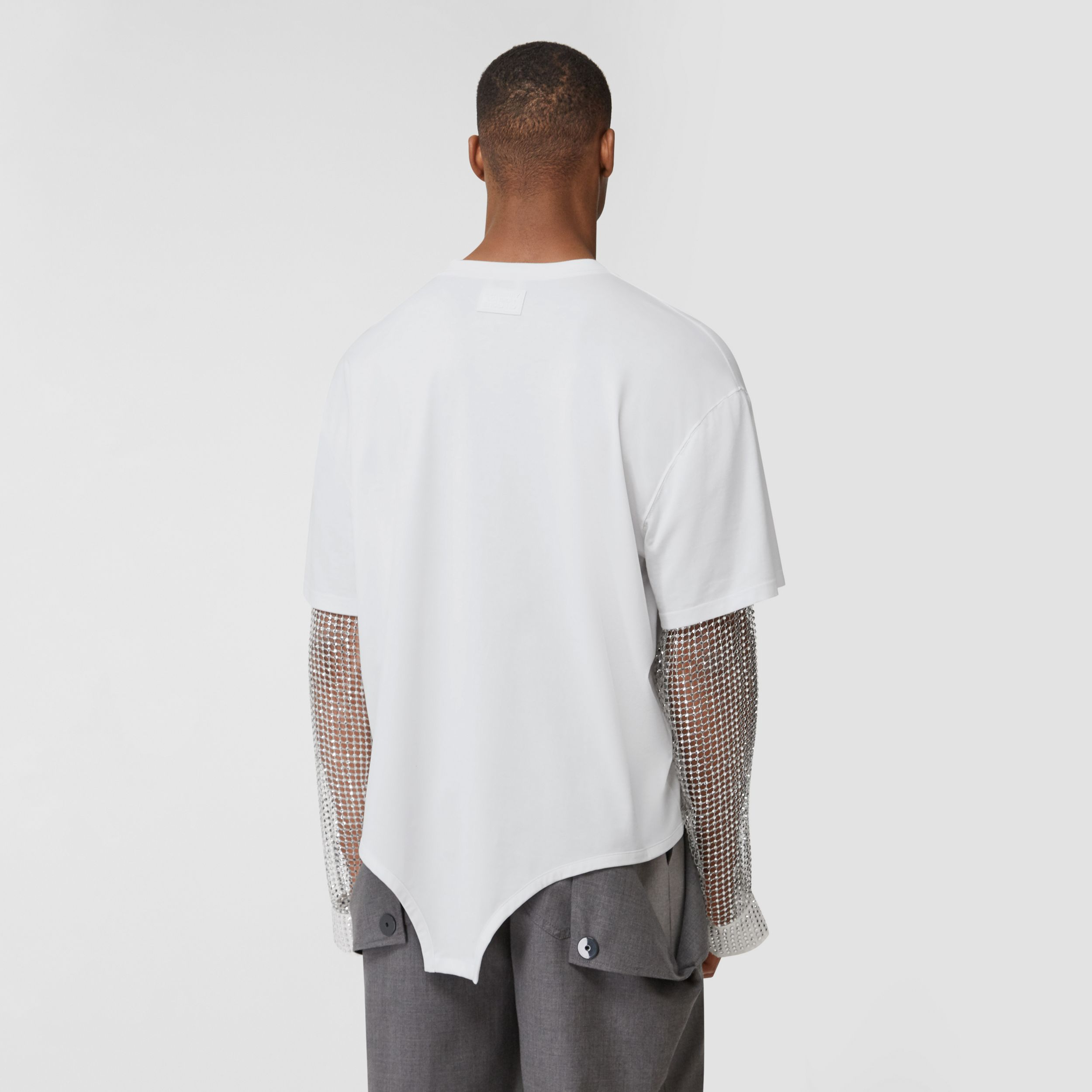 Crystal Sleeve Cut-out Hem Cotton Oversized T-shirt in Optic White | Burberry - 3
