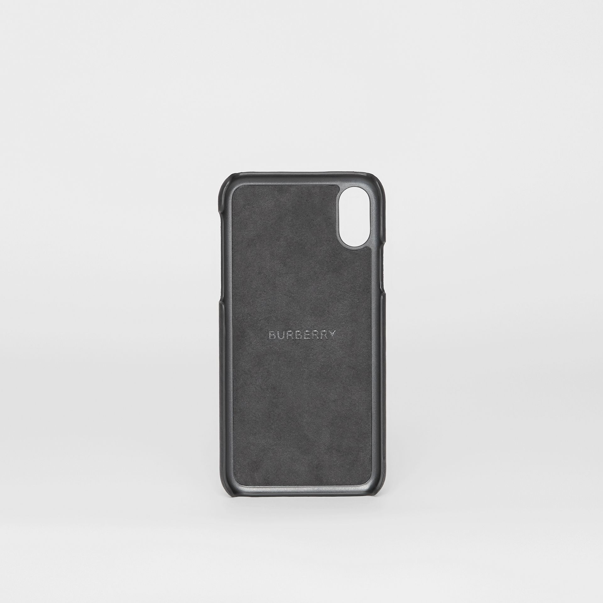 Logo Print Leather iPhone X/XS Case in Black | Burberry United States - gallery image 2