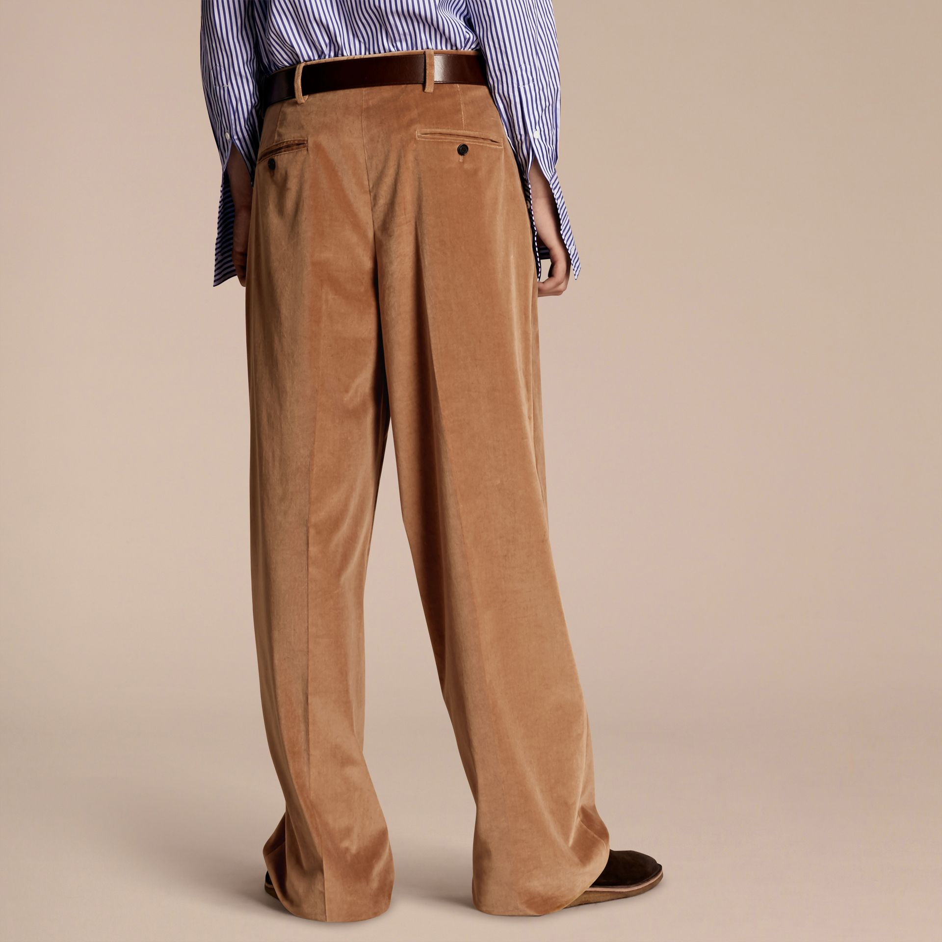 Mid camel Wide-leg Salt-washed Velvet Trousers Mid Camel - gallery image 3