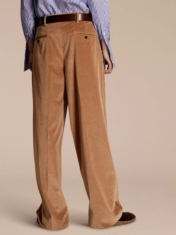 Mid camel Wide-leg Salt-washed Velvet Trousers Mid Camel - cell image 2