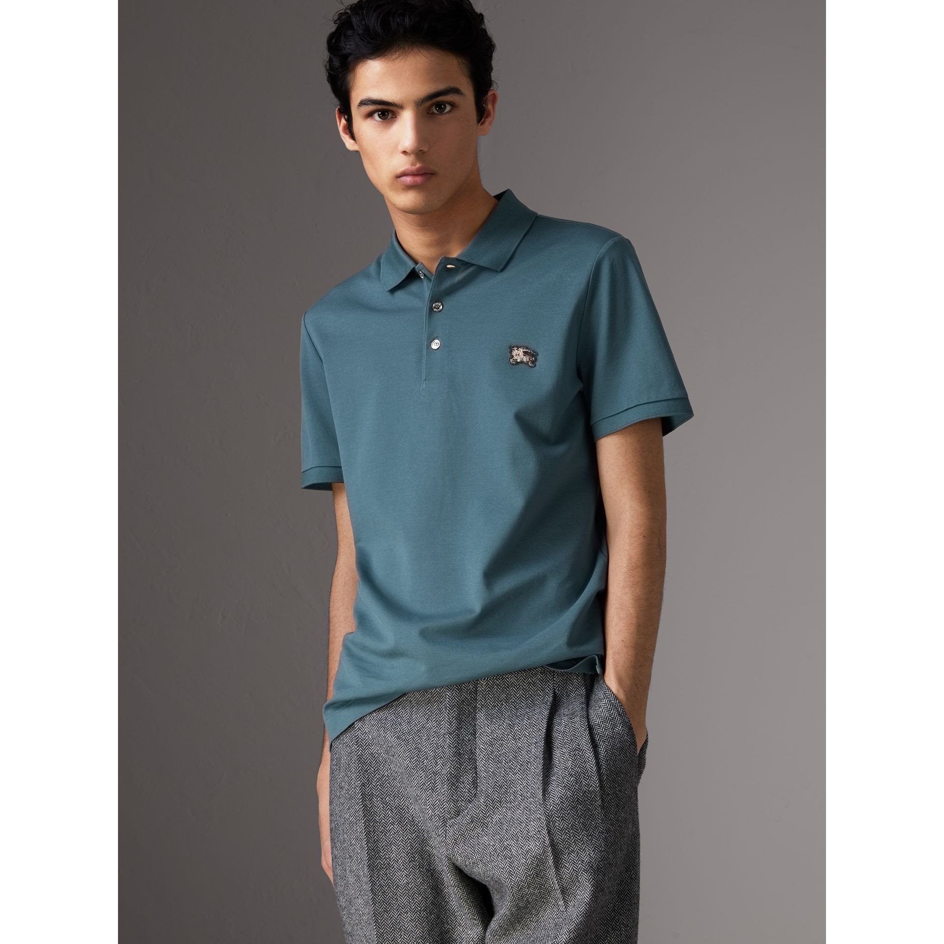 Cotton Piqué Polo Shirt in Pewter Blue - Men | Burberry Canada - gallery image 0
