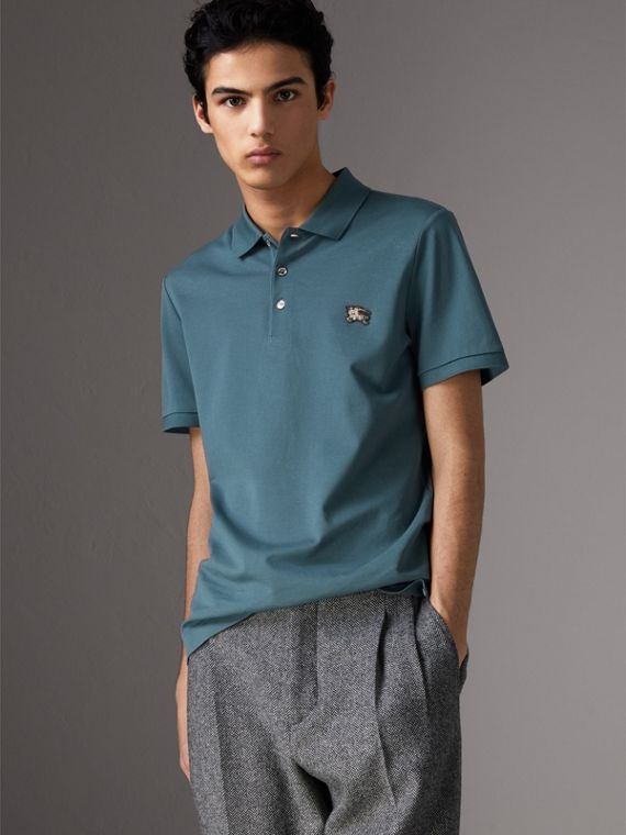 Cotton Piqué Polo Shirt in Pewter Blue