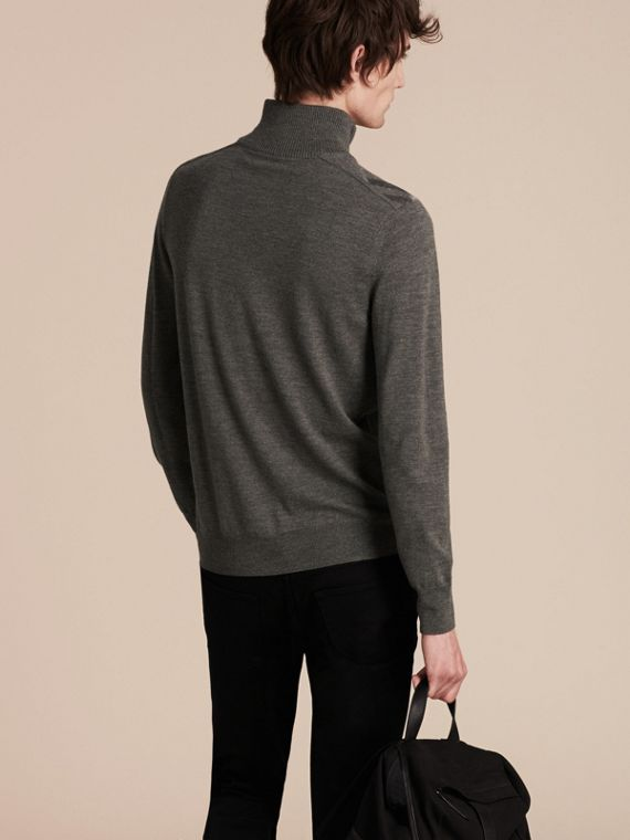 Mid grey melange Zip-collar Merino Wool Sweater Mid Grey Melange - cell image 2