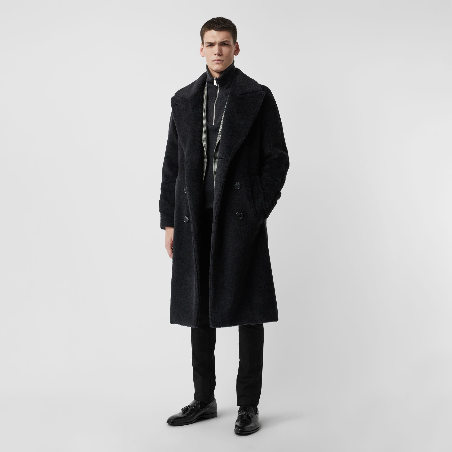 Alpaca Wool Cotton Double-breasted Coat in Charcoal - Men | Burberry - gallery image 0
