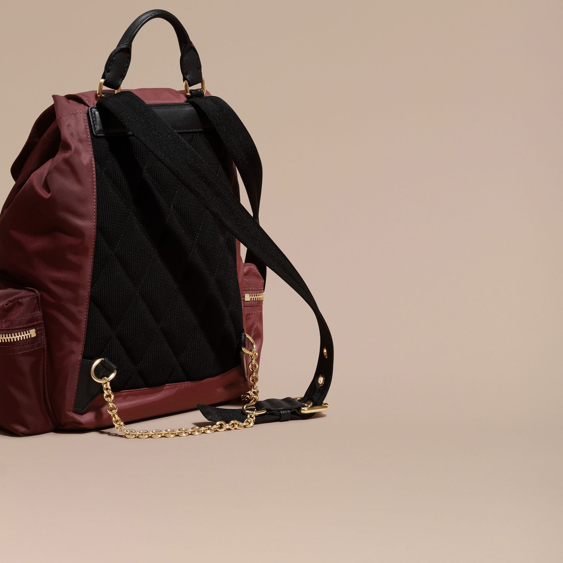 The Medium Rucksack in Technical Nylon and Leather Burgundy Red - gallery image 4