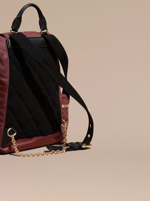 The Medium Rucksack in Technical Nylon and Leather Burgundy Red - cell image 3