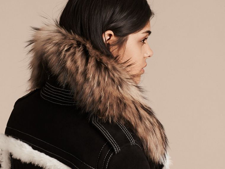 Black Fur-trim Suede and Shearling Aviator Jacket - cell image 4
