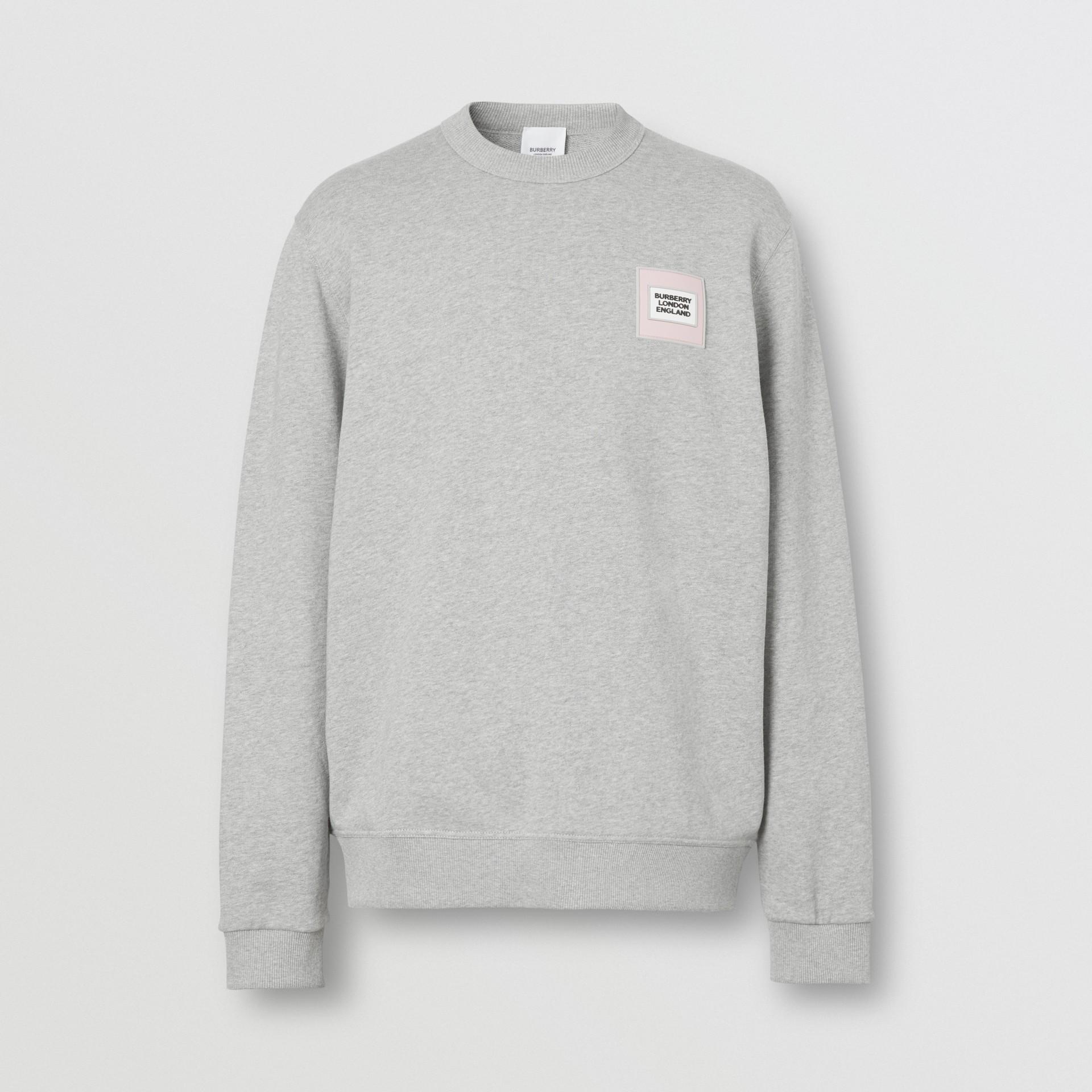 Logo Appliqué Cotton Sweatshirt in Pale Grey Melange - Men | Burberry United Kingdom - gallery image 3