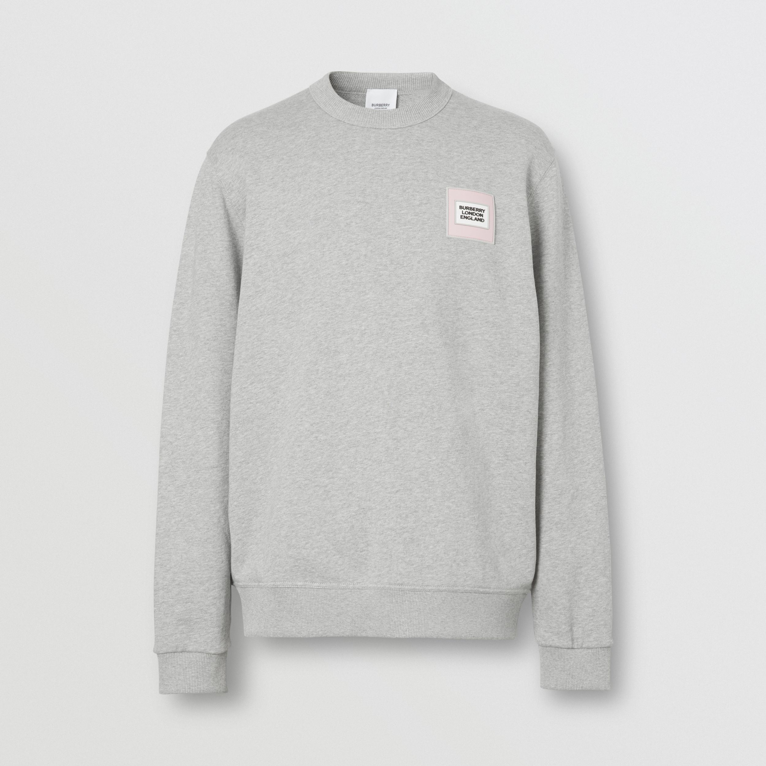 Logo Appliqué Cotton Sweatshirt in Pale Grey Melange - Men | Burberry - 4