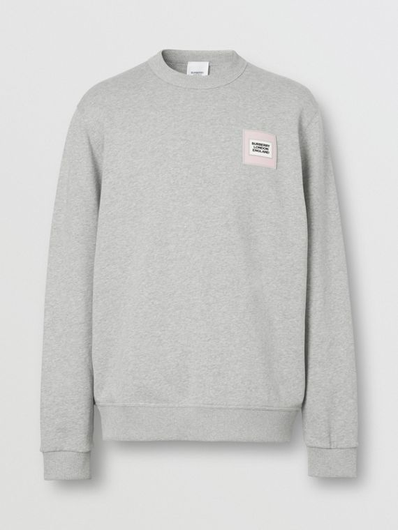 Logo Appliqué Cotton Sweatshirt in Pale Grey Melange
