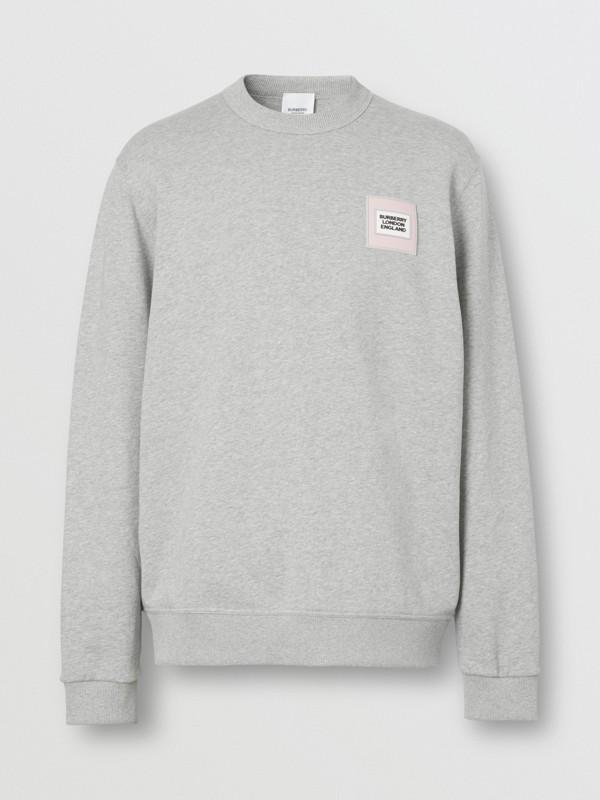 Logo Appliqué Cotton Sweatshirt in Pale Grey Melange - Men | Burberry United Kingdom - cell image 3