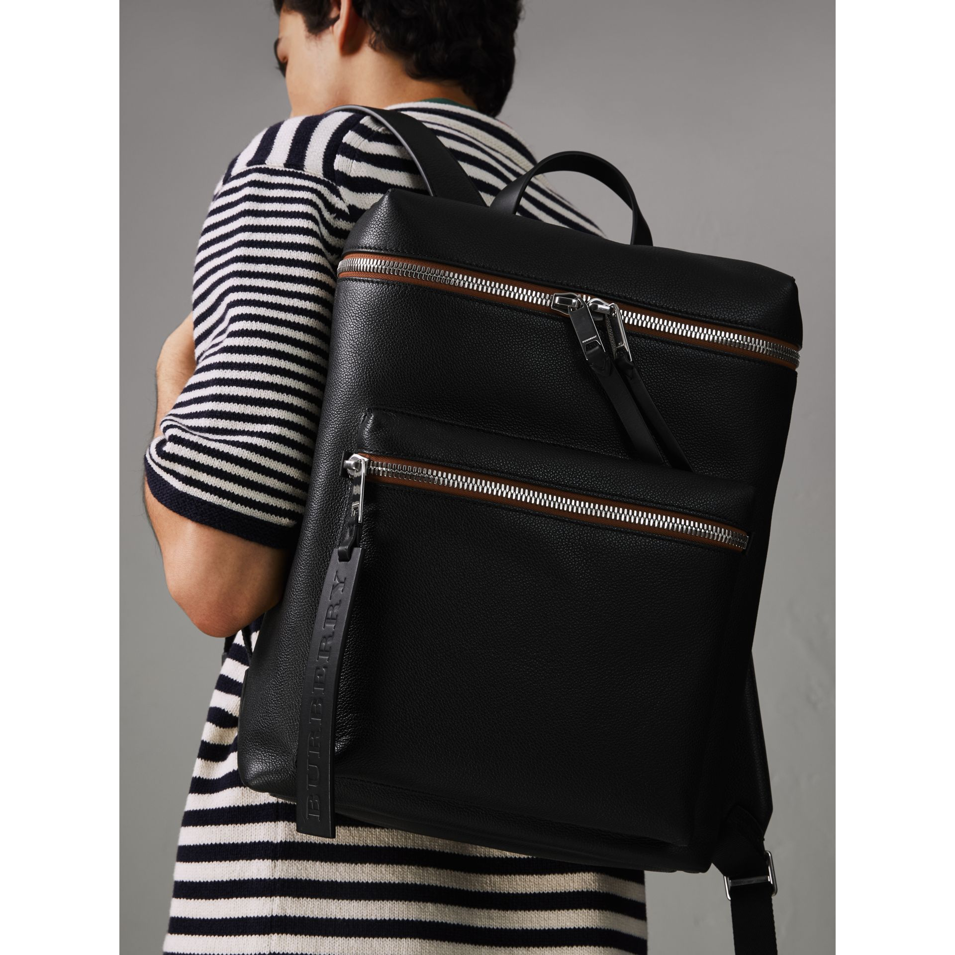 Zip-top Leather Backpack in Black - Men | Burberry - gallery image 3