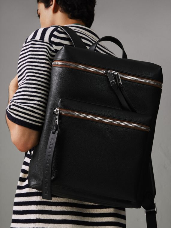 Zip-top Leather Backpack in Black - Men | Burberry Canada - cell image 3