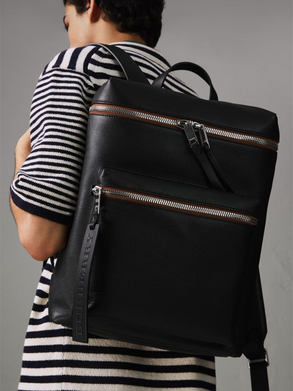Zip-top Leather Backpack in Black - Men | Burberry Australia - cell image 3