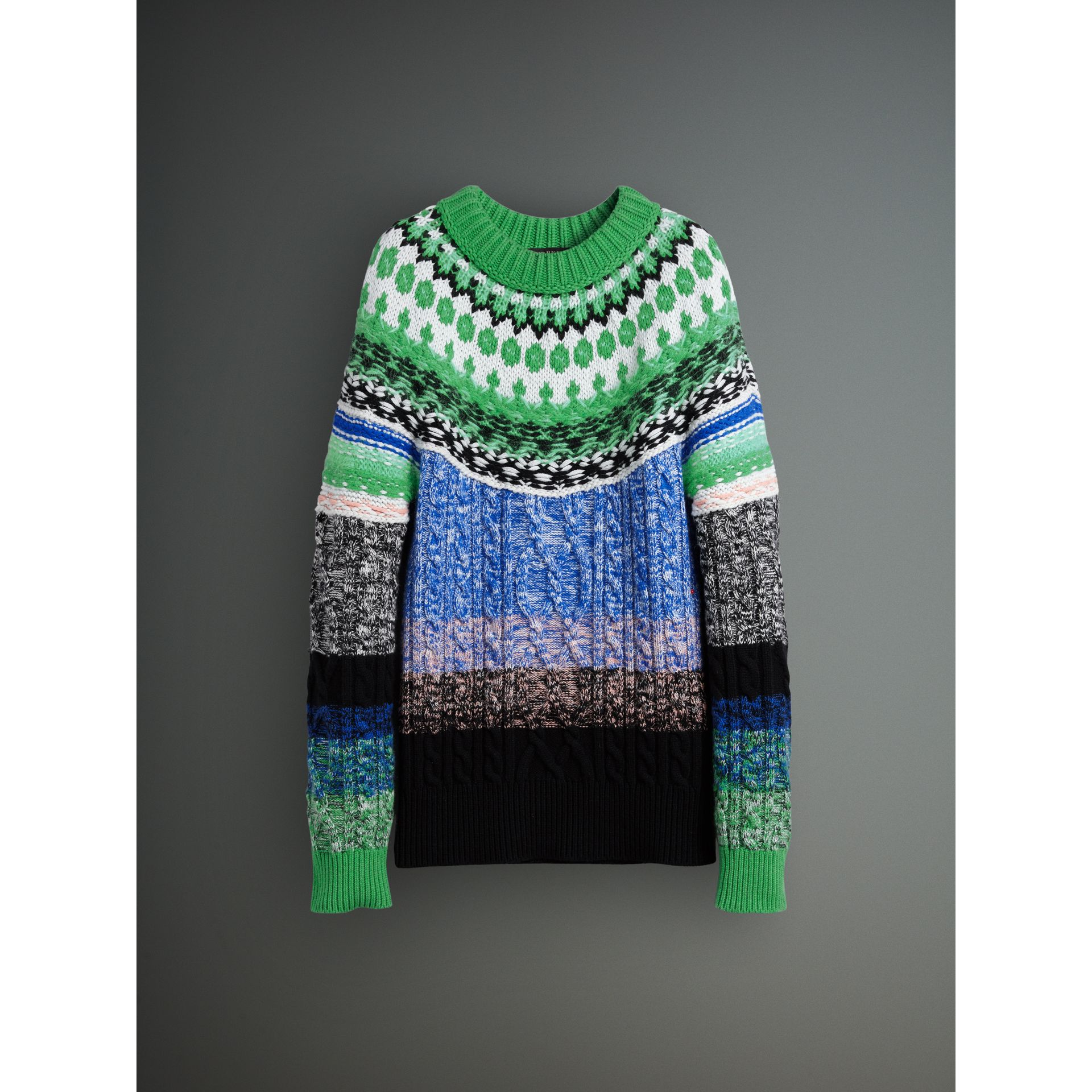 Multi-knit Cashmere Wool Mohair Mouliné Sweater in Bright Turquoise Green - Men | Burberry United Kingdom - gallery image 3