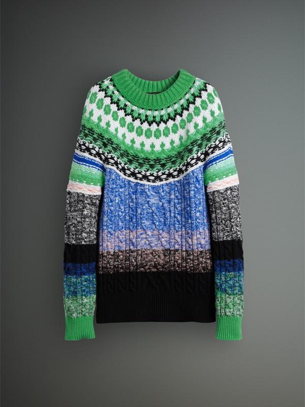 Suéter de cashmere, lã e mohair em fio mouliné (Verde Turquesa Intenso) - Homens | Burberry - cell image 3