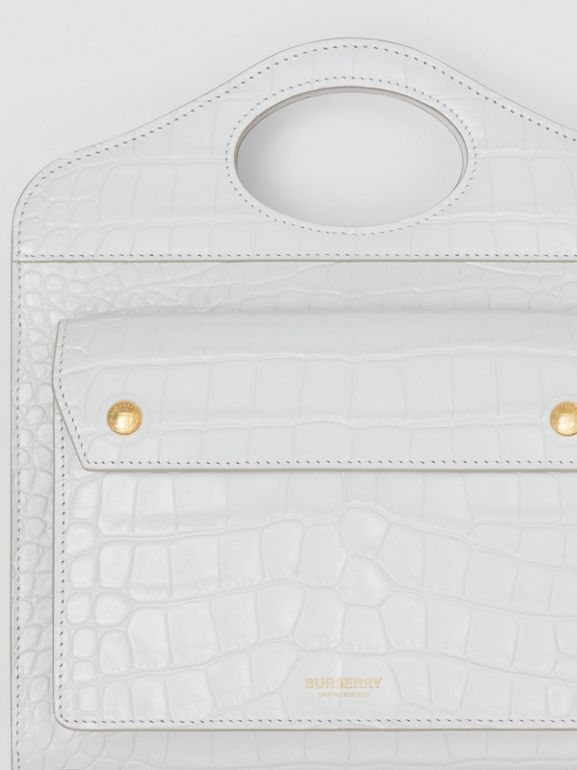 Mini Embossed Leather Pocket Bag in Light Pebble Grey - Women | Burberry United Kingdom - cell image 1