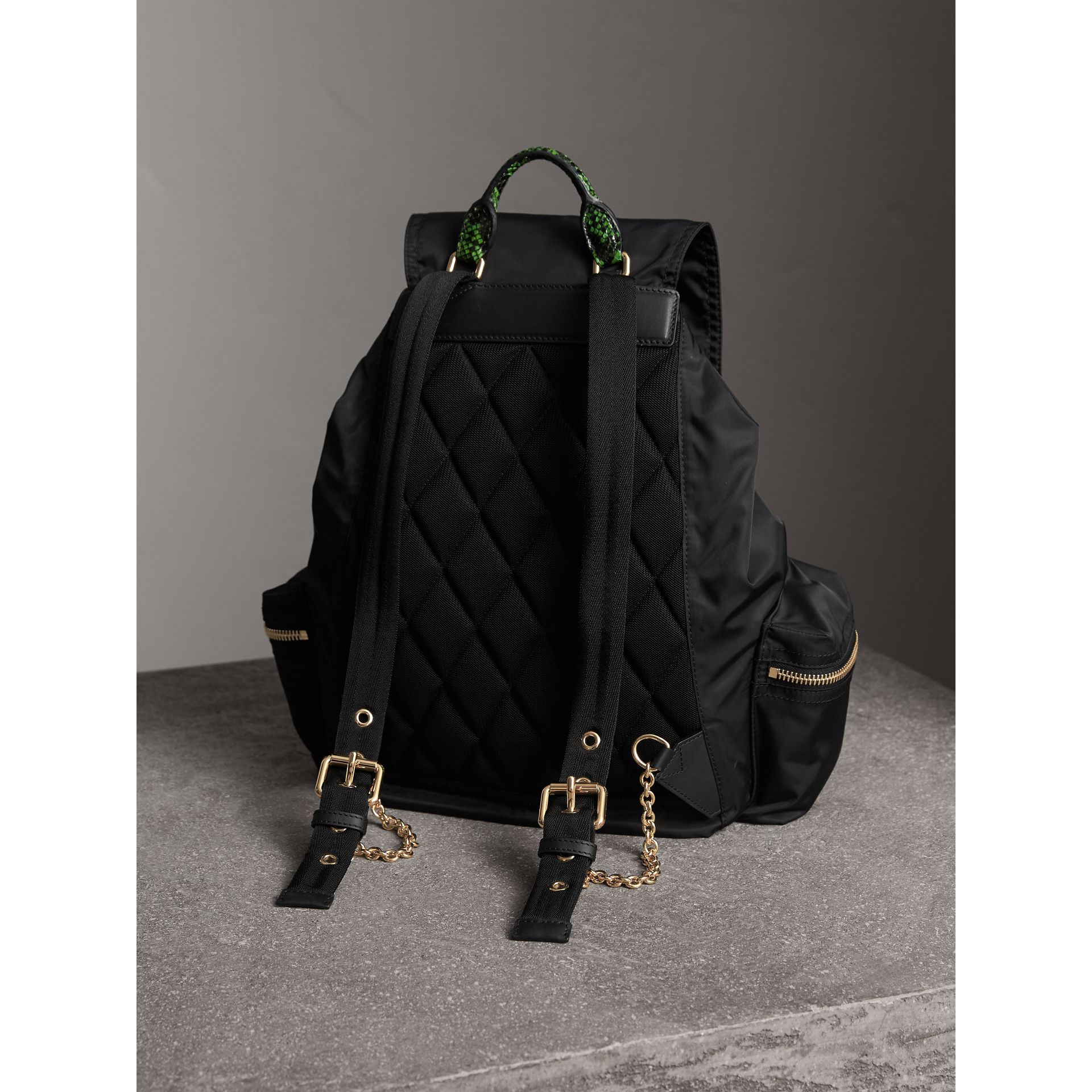 The Large Rucksack in Technical Nylon and Snakeskin in Black/bright Green - Women | Burberry - gallery image 4