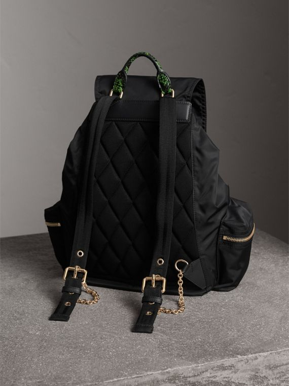 The Large Rucksack in Technical Nylon and Snakeskin in Black/bright Green - Women | Burberry - cell image 3
