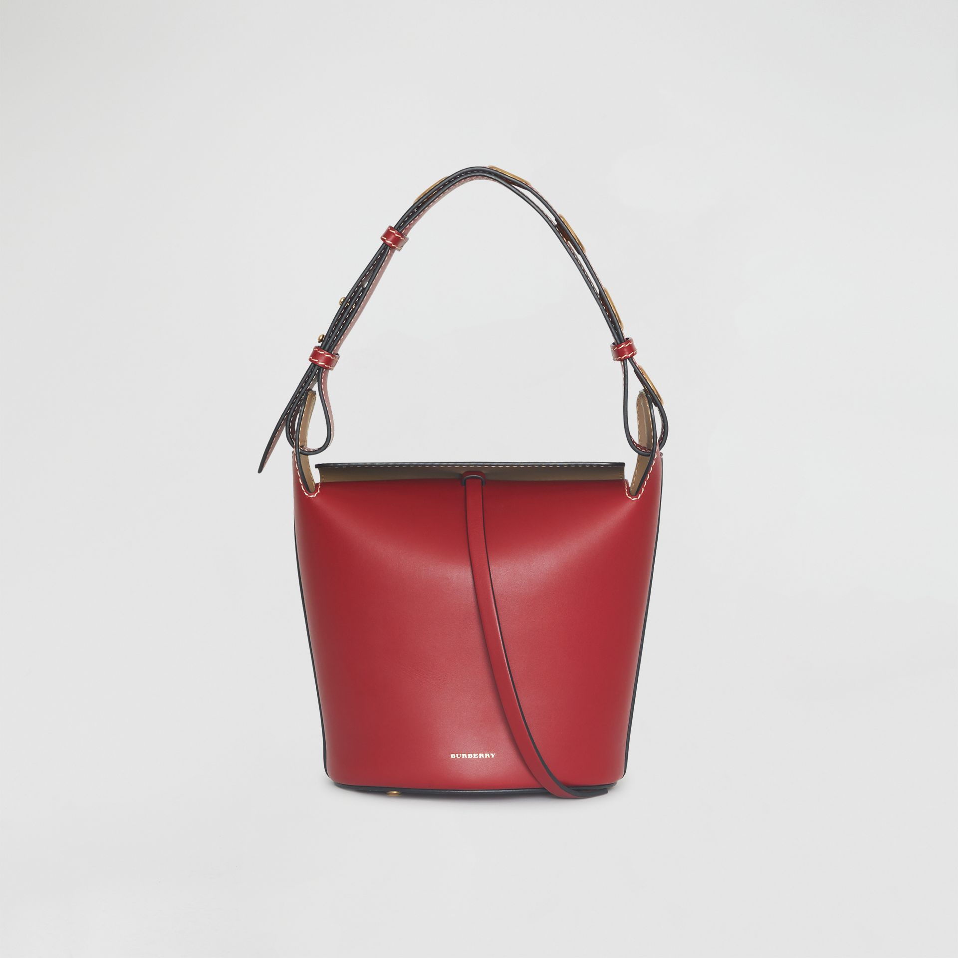 The Small Leather Bucket Bag in Crimson - Women | Burberry - gallery image 0