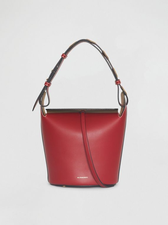 The Small Leather Bucket Bag in Crimson