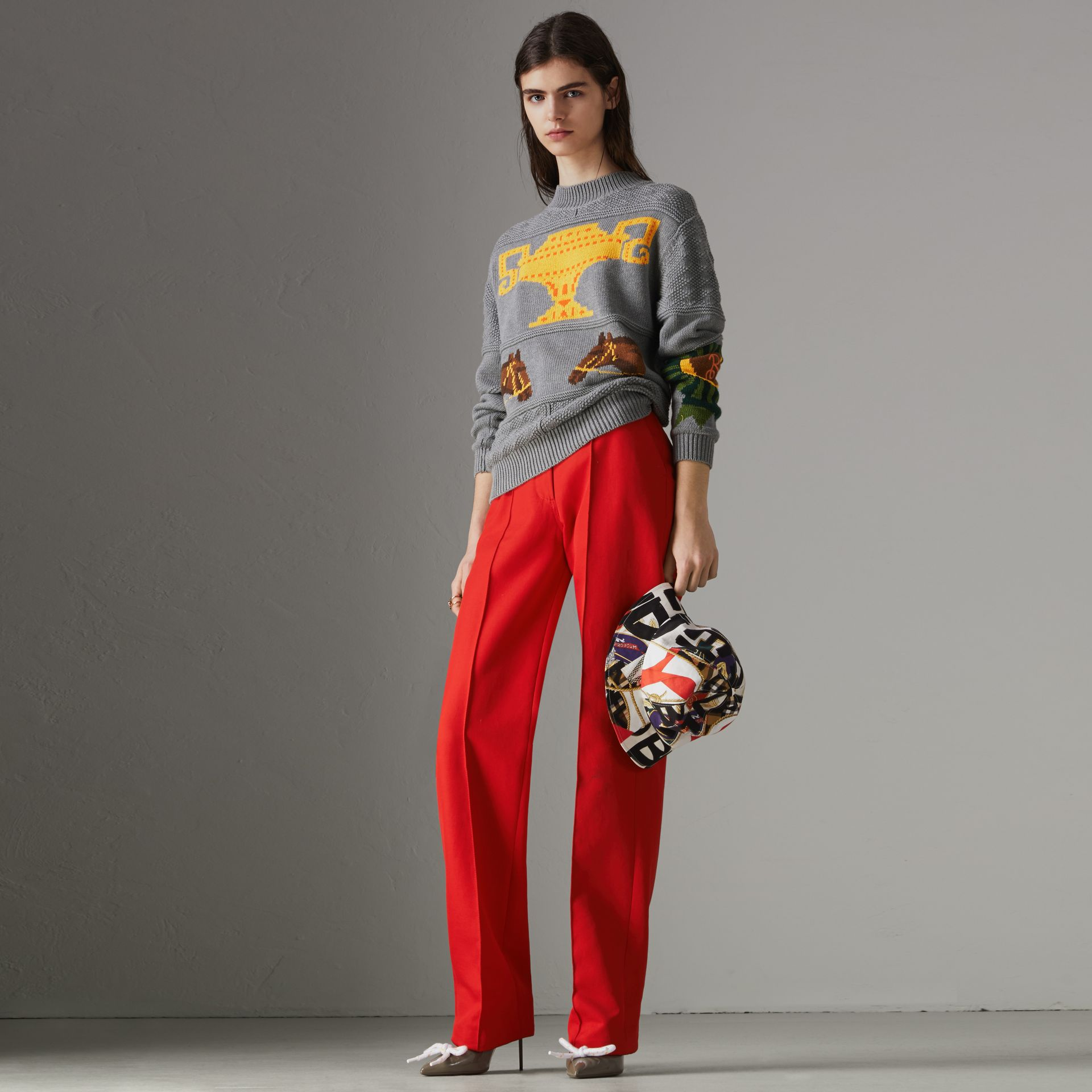 Equestrian Intarsia Cotton Wool Sweater in Grey Melange - Women | Burberry Canada - gallery image 0