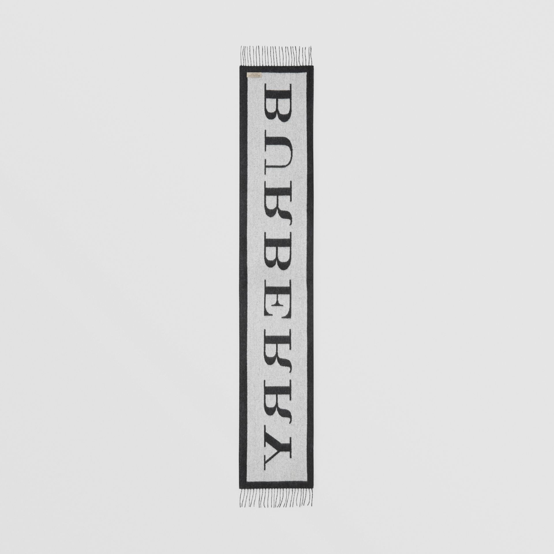 Logo Cashmere Wool Jacquard Scarf in White/black | Burberry United Kingdom - gallery image 4