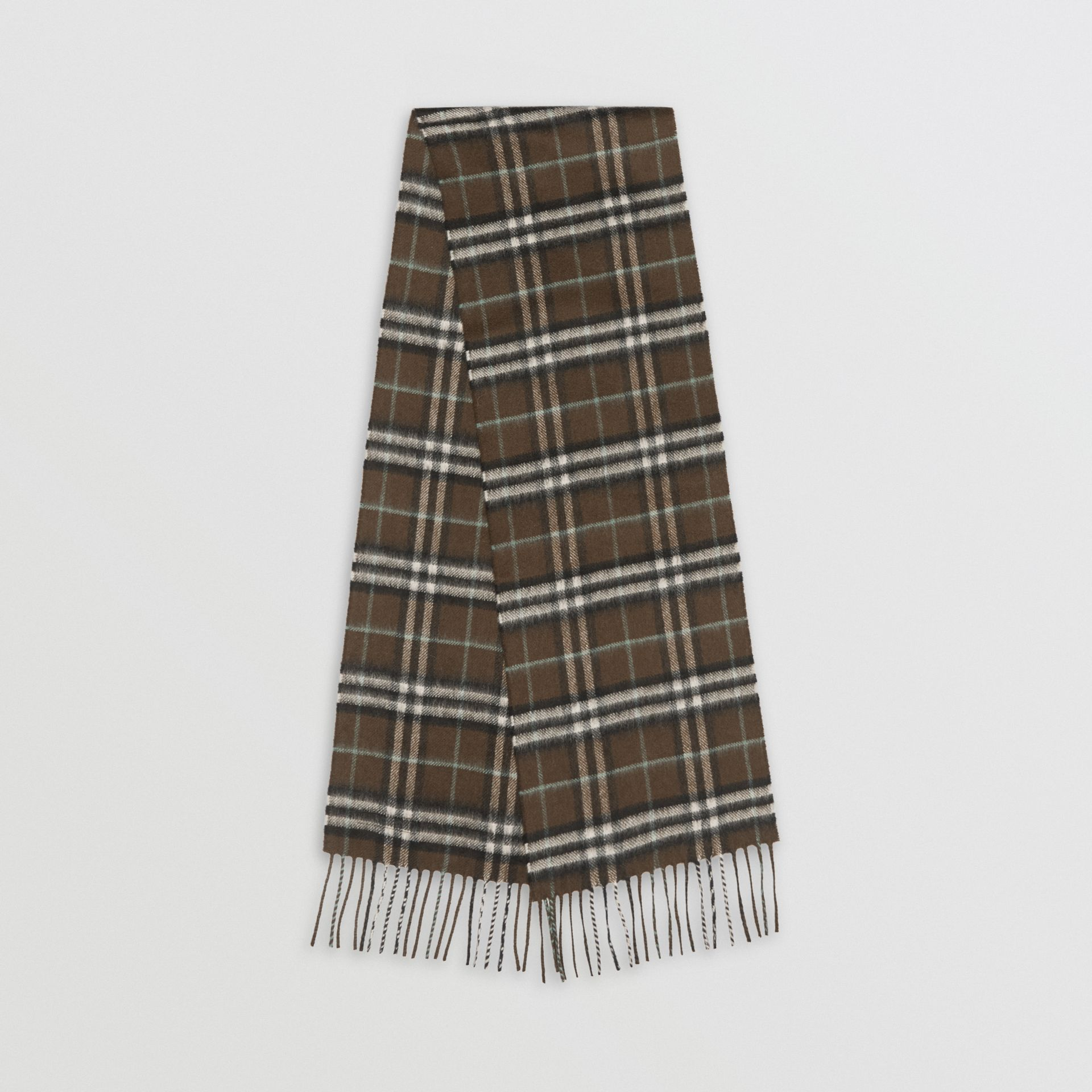 The Mini Classic Vintage Check Cashmere Scarf in Military Brown - Children | Burberry United Kingdom - gallery image 0
