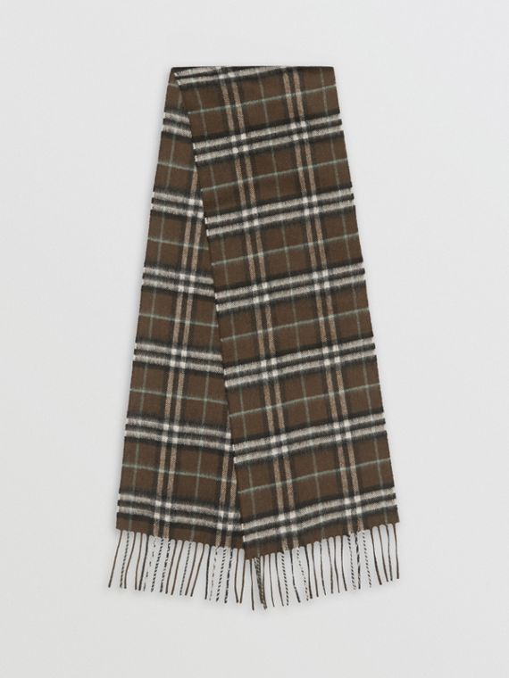 The Mini Classic Vintage Check Cashmere Scarf in Military Brown