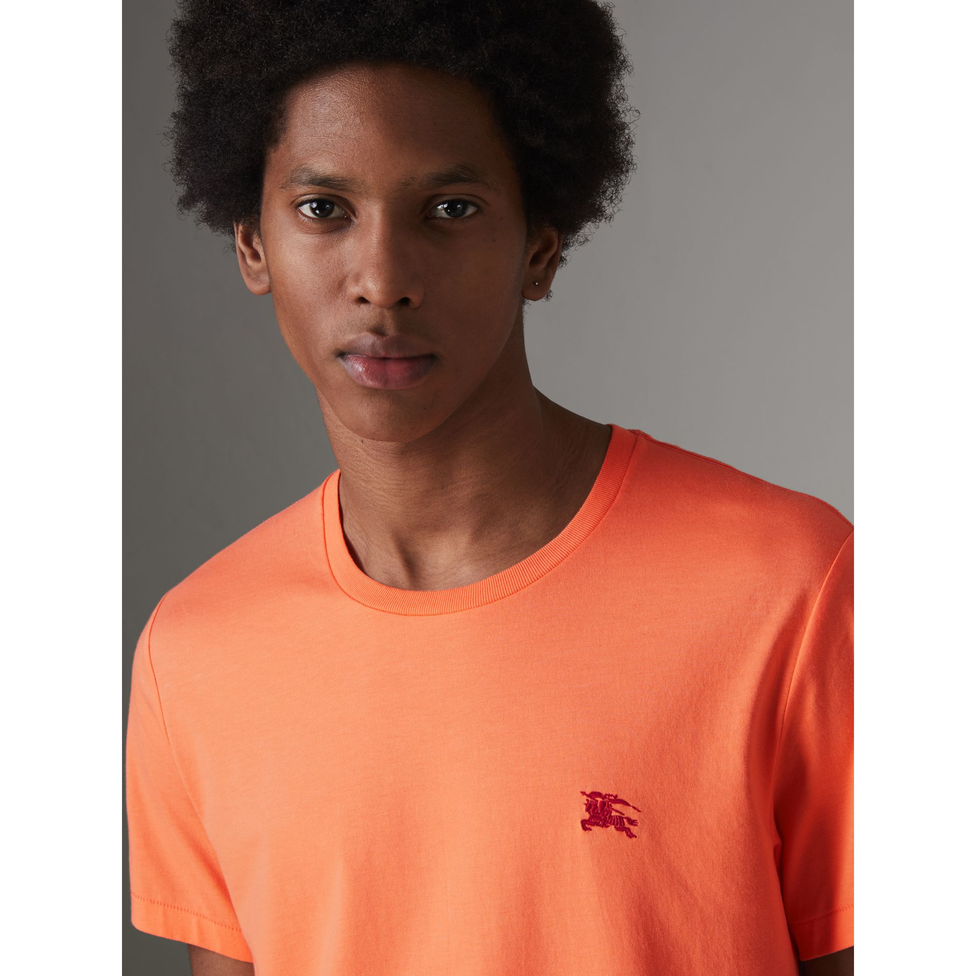 Cotton Jersey T-shirt in Bright Orange - Men | Burberry Australia - gallery image 1