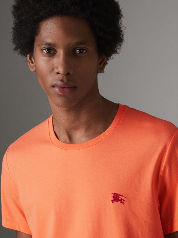 Cotton Jersey T-shirt in Bright Orange - Men | Burberry United Kingdom - cell image 1