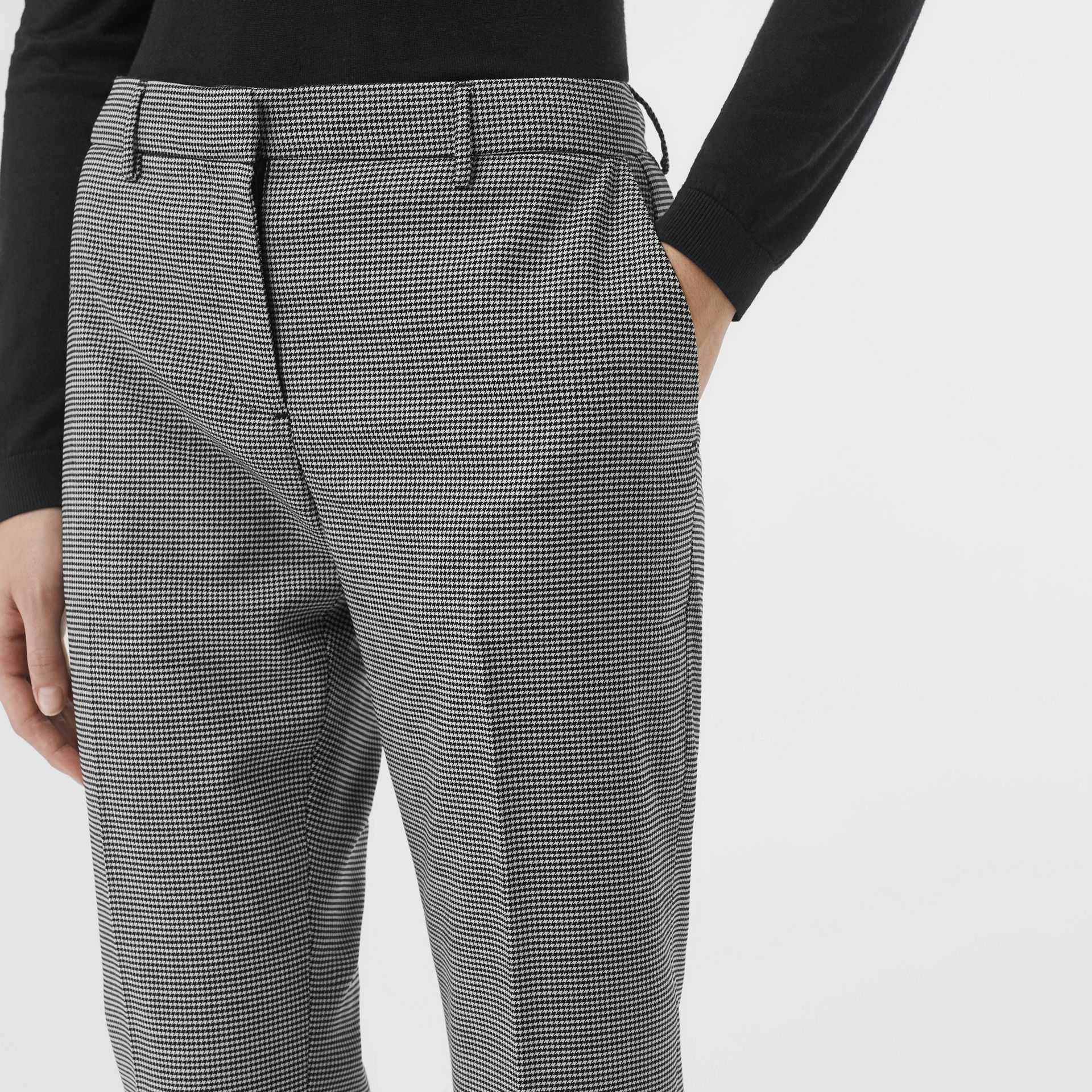Houndstooth Check Wool Cropped Tailored Trousers in Black - Women | Burberry - gallery image 1