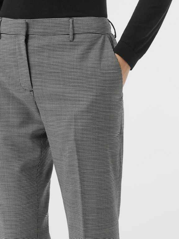 Houndstooth Check Wool Cropped Tailored Trousers in Black - Women | Burberry - cell image 1