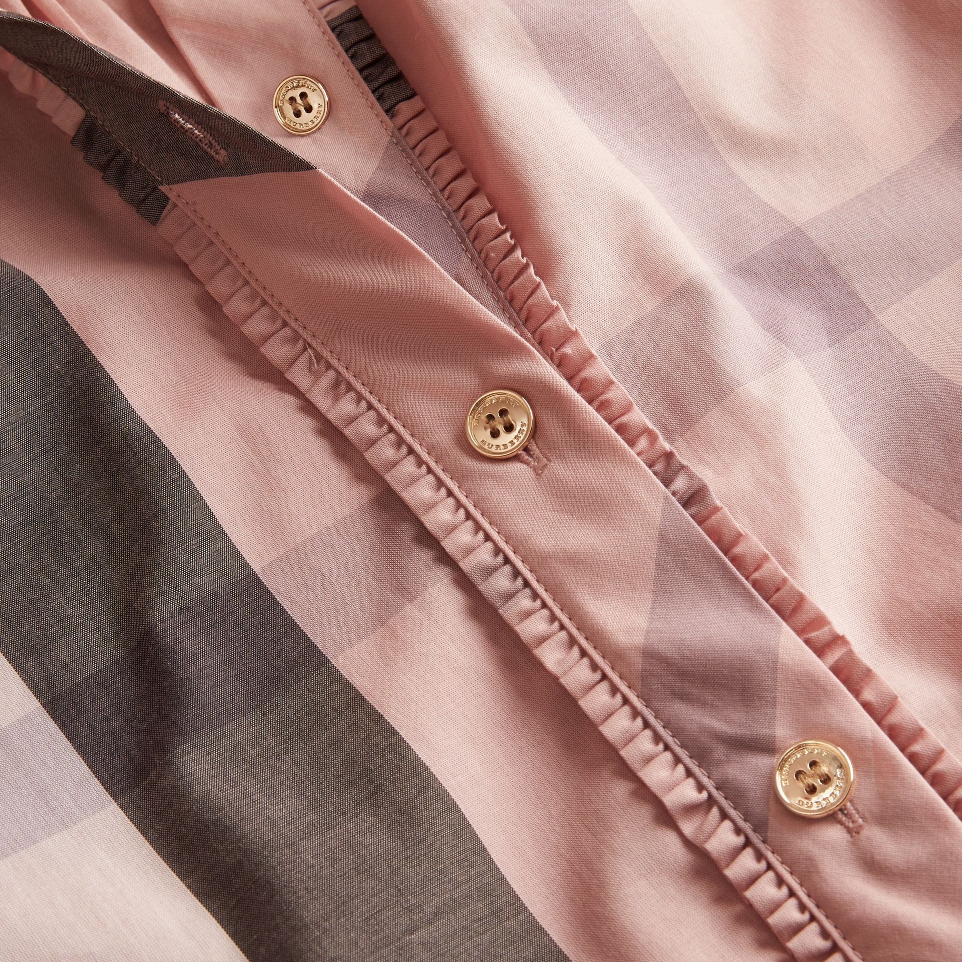 Check Grandad Collar Shirt Antique Pink - photo de la galerie 2