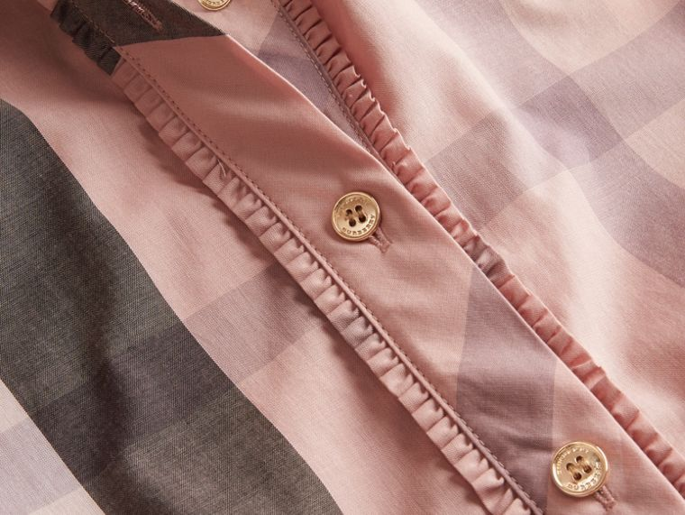 Check Grandad Collar Shirt in Antique Pink - Women | Burberry - cell image 1